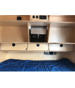 Cabin- Lower Flip Doors with Locking Center Drawer